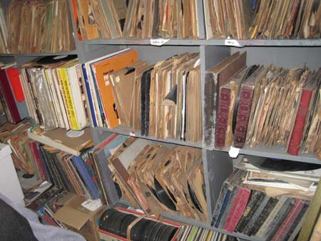 Stacks of 78 rpm records