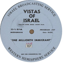 Historic radio braodcast of the Israel Broadcasting Company clelbrating the millionth immigrant to Israel (8/29/61). Click on label to play.